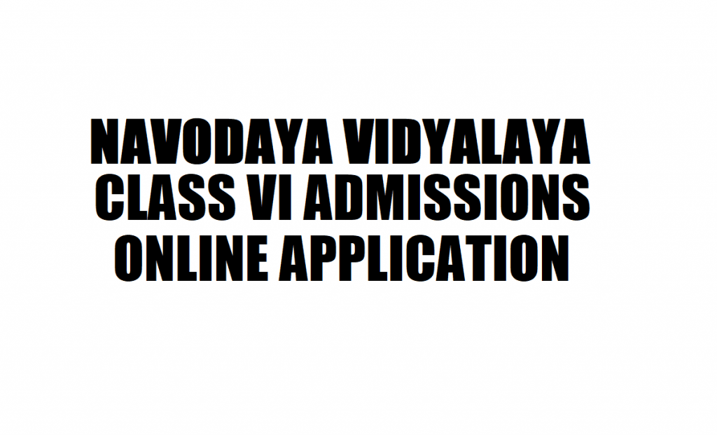 Navodaya Online Application 2021
